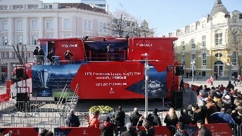 UEFA Champions League Trophy, presented by UniCredit for the first time live in Burgas